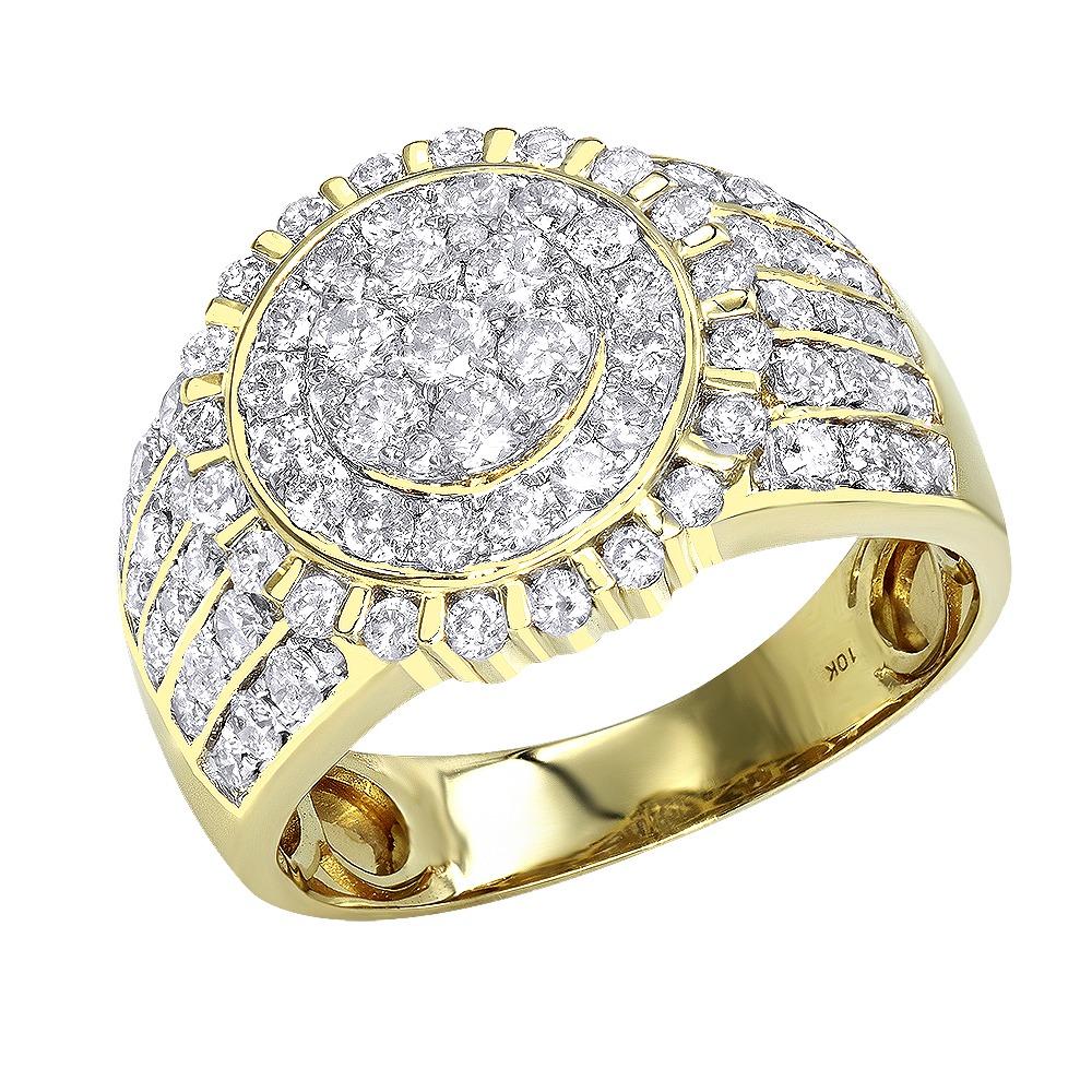 Solid 10K Gold Diamond Ring for Men by Luxurman 2.5ct Yellow Image