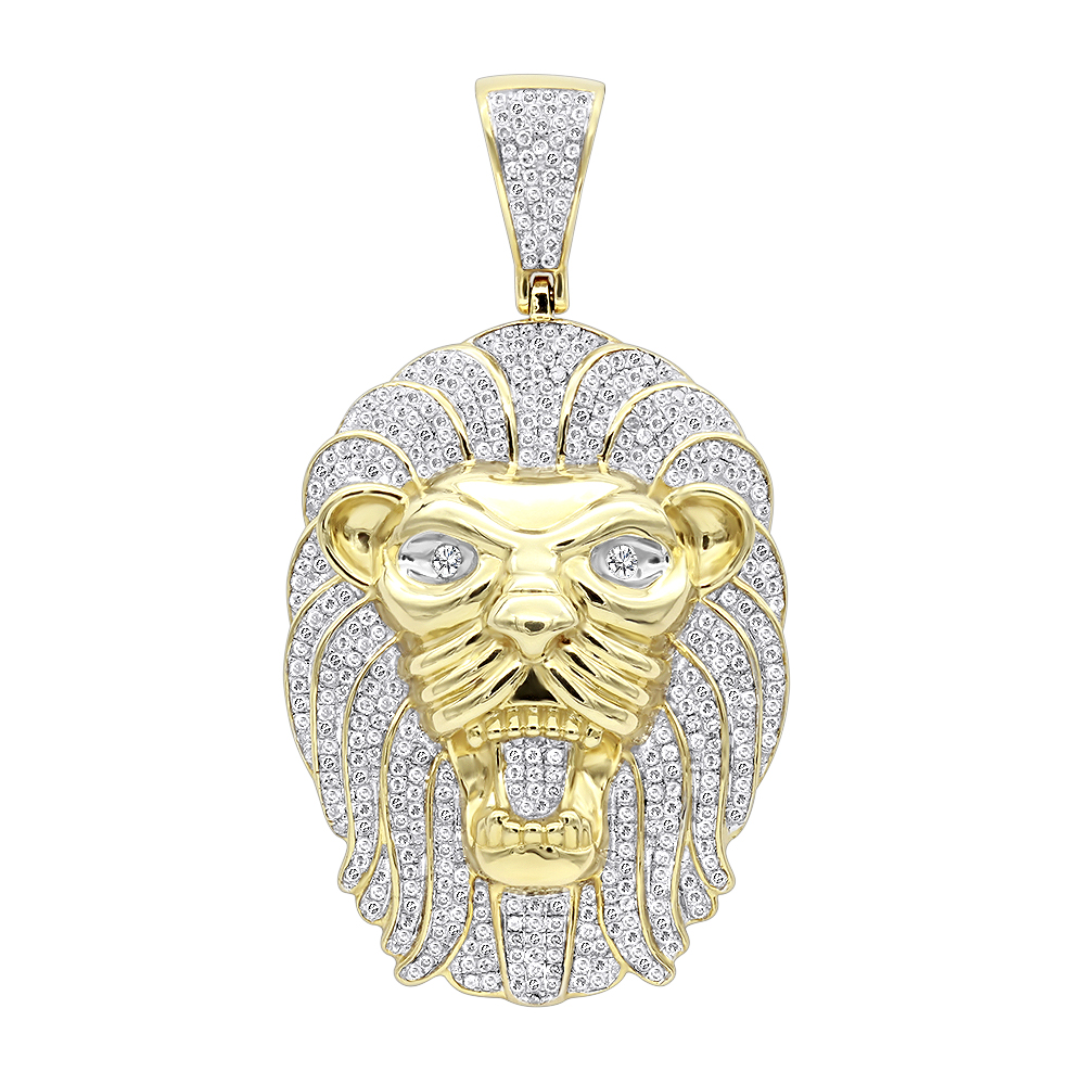 Solid 10k Gold Lion Head Pendant with Diamonds for Men 1.2ct Yellow Image