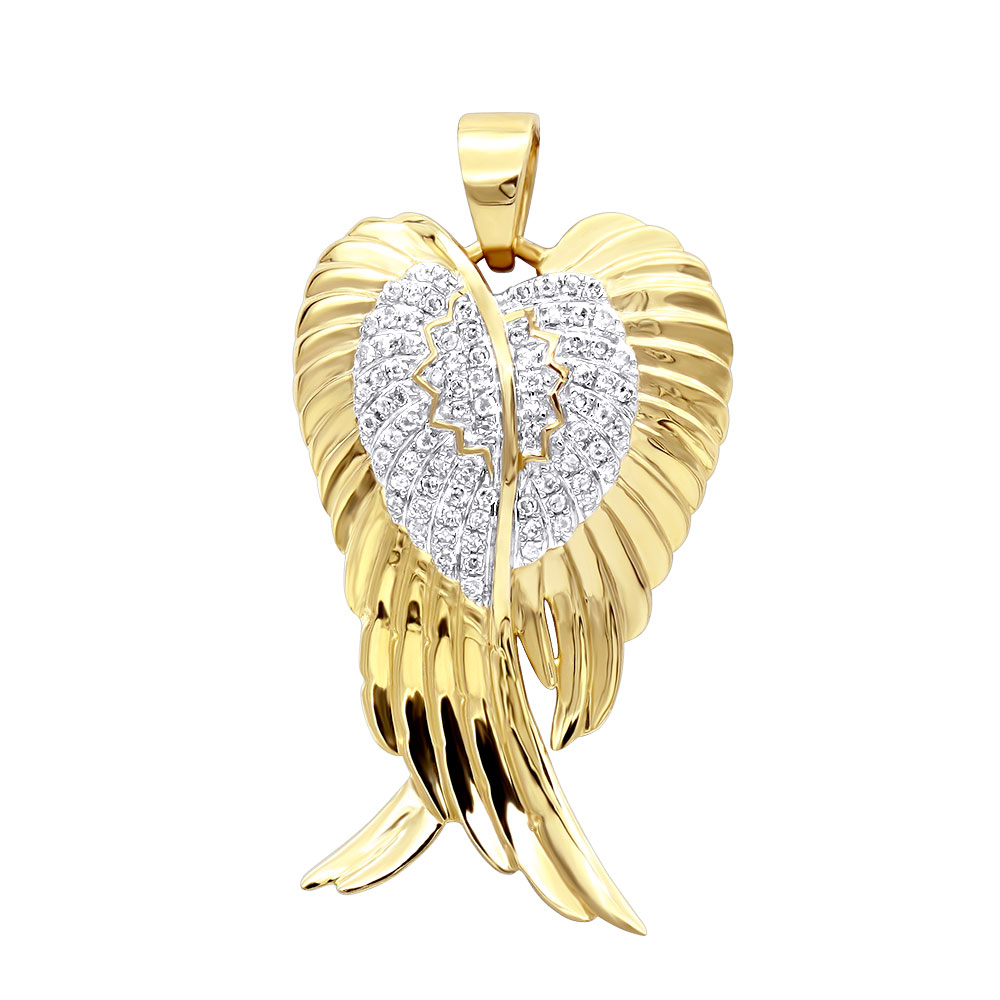 Solid 10k Gold Real Diamond Angel Wings Pendant Necklace 0.35ct Yellow Image
