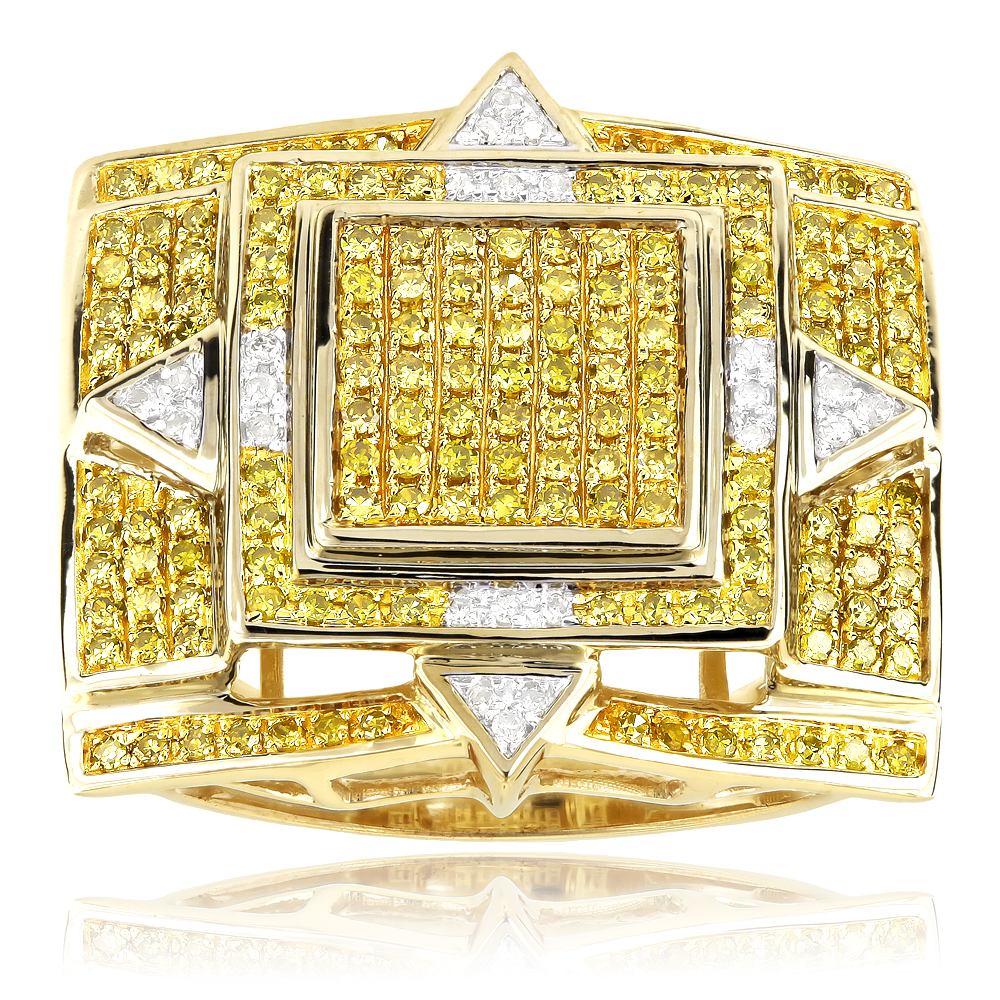 Solid 10K Gold Rings Yellow Diamond Mens Ring 1.11ct Yellow Image