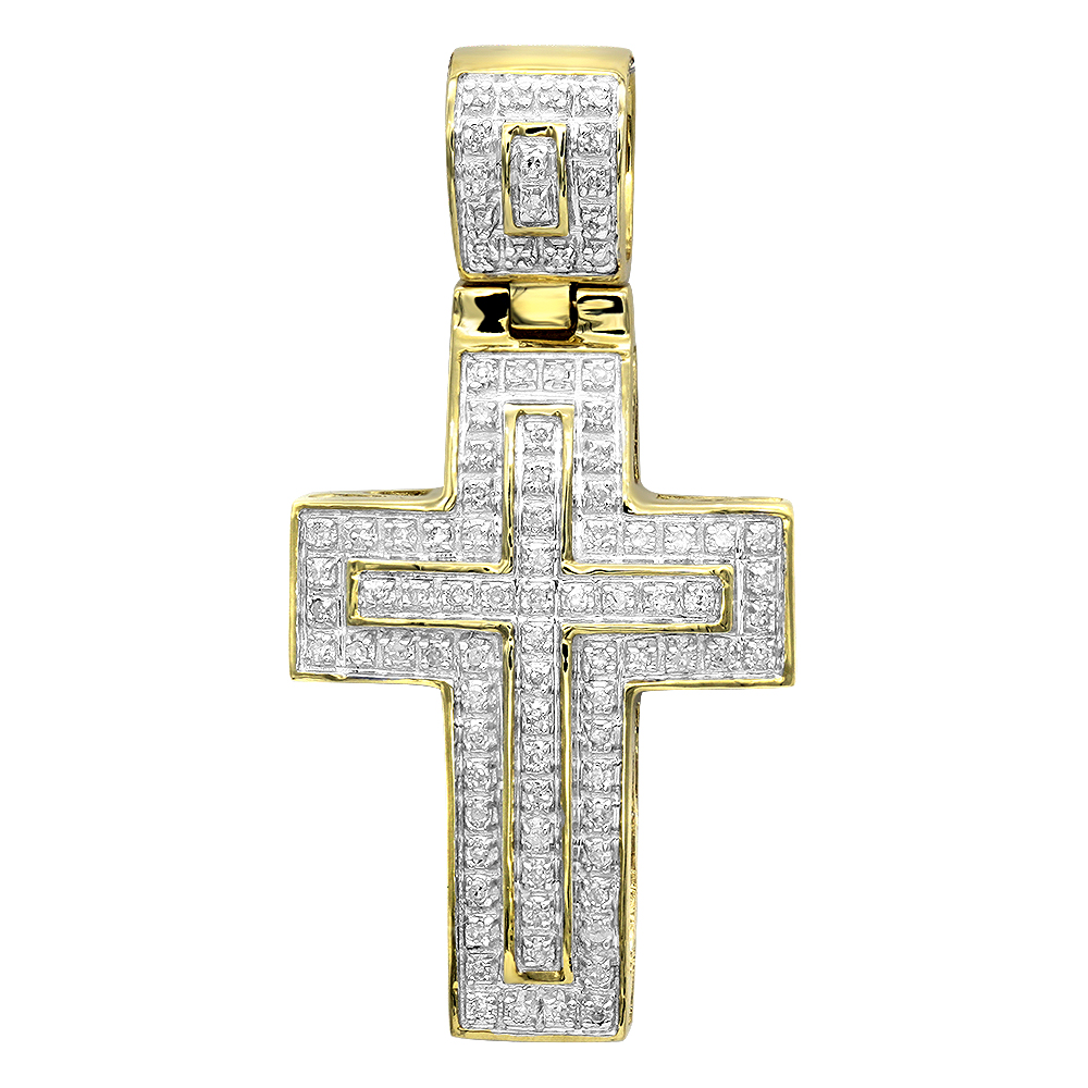 Solid 10k Gold Small Diamond Cross Pendant for Men and Women 0.3ct Yellow Image