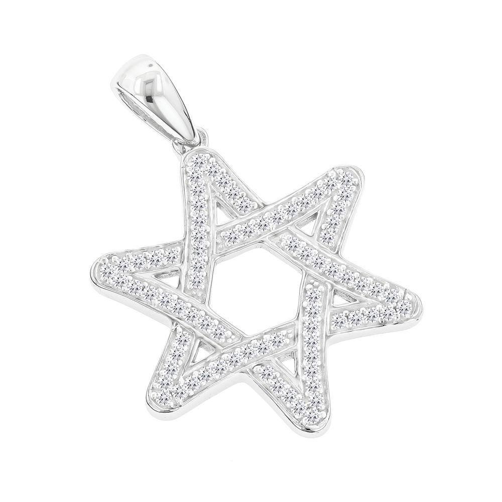 Solid 14K Gold Diamond Star of David Pendant 0.27ct White Image