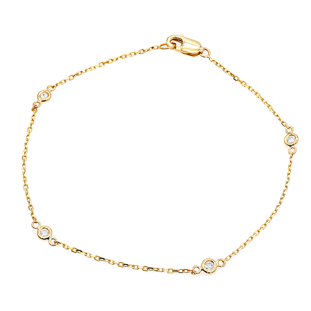 Solid 14K Gold  Diamonds by the Yard Bracelet for Women 0.15ct Yellow Image