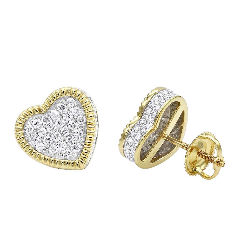 Solid 14K Gold Heart Diamond Stud Earrings for Women 0.75ct by Luxurman Yellow Image