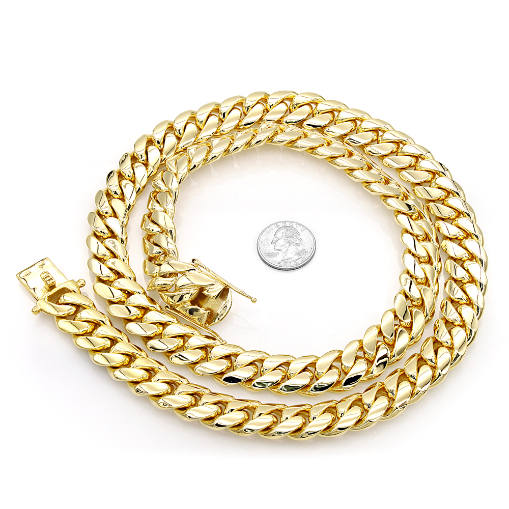 Solid 14K Gold Miami Cuban Link Chain Necklace for Men 18mm 22-40in Yellow Image