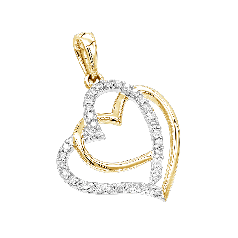 Solid 14K Gold Real Diamond Double Heart Pendant 0.1ct by Luxurman Yellow Image
