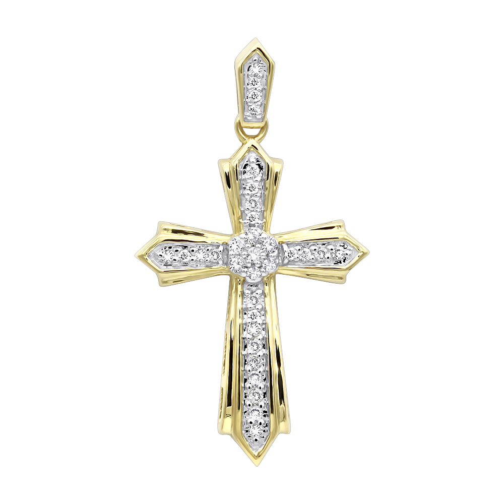 Solid 14k Gold Small Diamond Cross Pendant for Women 0.2ct Yellow Image