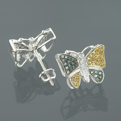 Solid Gold Blue Yellow Diamond Butterfly Earrings 0.50ct Main Image