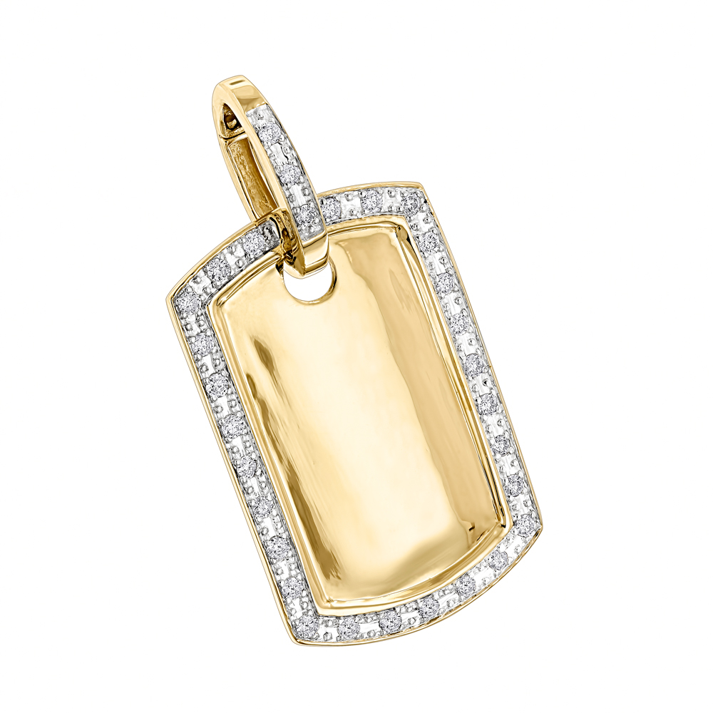 Solid gold diamond dog tag pendant 10k 065ct mozeypictures Images