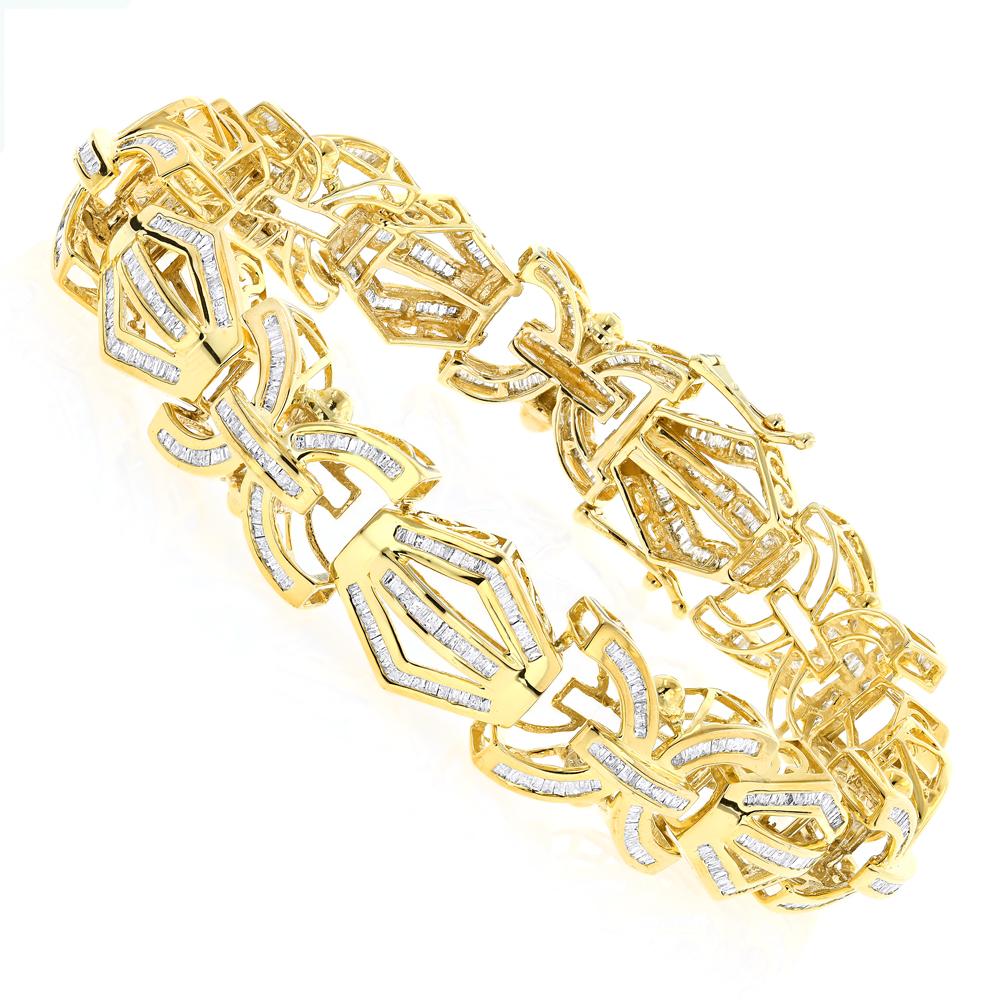 Modern Solid Gold Mens Baguette Diamonds Bracelet 7.95ct Yellow Image