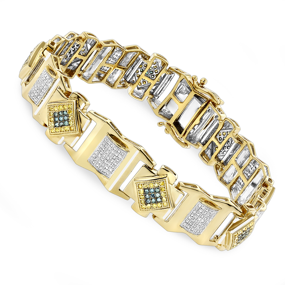 Solid Gold Mens Diamond Bracelet Yellow Blue White 2.5 ct Yellow Image