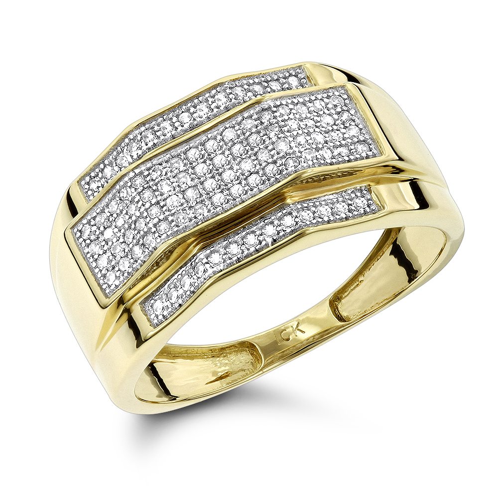 Solid Gold Mens Diamond Ring 0.3ct Yellow Image