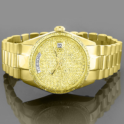 Solid Gold Watches: Geneve Yellow Diamond Watch 2ct