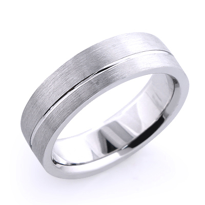 Solid Platinum One Line Mens Wedding Band Main Image