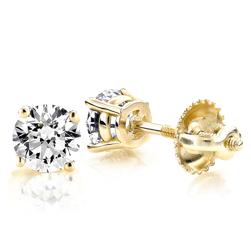 Solitaire 1 Carat Round Diamond Stud Earrings F-G VS in 4 Prong 18K Gold Main Image