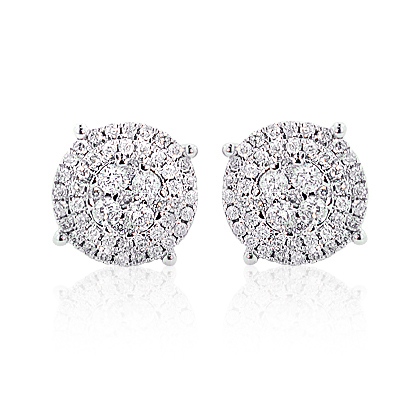 Sparkling Round Diamond Cluster Earrings 0.90ct 14K Gold Main Image