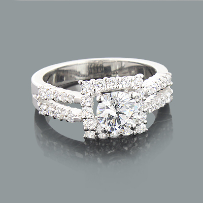 Halo Split Band Engagement Ring Setting with Round Diamonds 0.76ct 14K