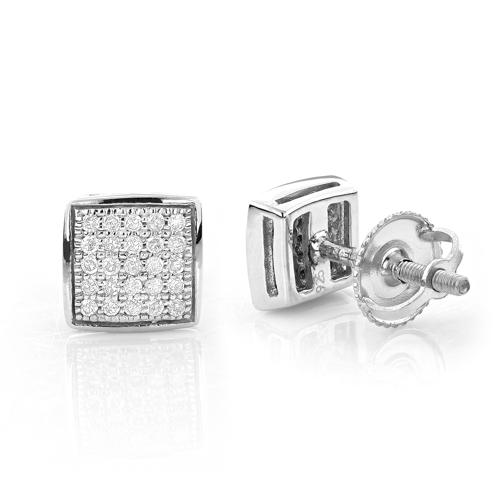 Square Round Pave Diamond Stud Earrings Sterling Silver 0.19ct Main Image