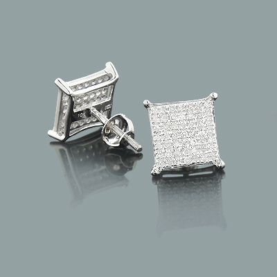 Square Stud Earrings with Diamonds 0.37ct 10K Gold