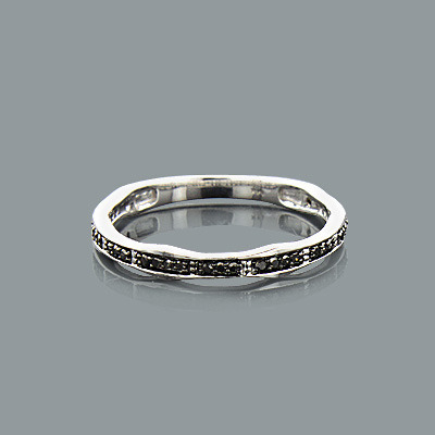 Ultra Thin Stackable Rings 14K Yellow Gold Black Diamond Ring for Women 0.13ct Main Image