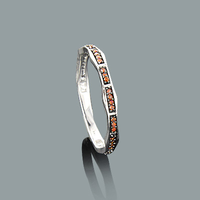 Ultra Thin Stack Rings: 14K Gold Red Diamond Ring 0.13ct Main Image