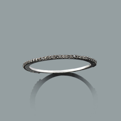 Ultra Thin Stackable Black Diamond Ring 0.15ct 14K Gold