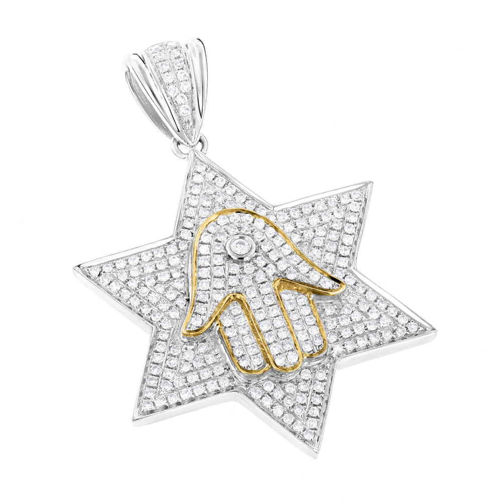 Star of David Jewelry: Gold Diamond Hamsa Necklace 1.17 White Image