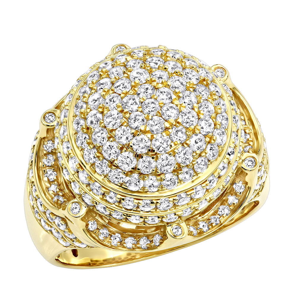 Statement and Hip Hop Jewelry 3 Carat Mens Diamond Ring w Crown in 14k Gold Yellow Image