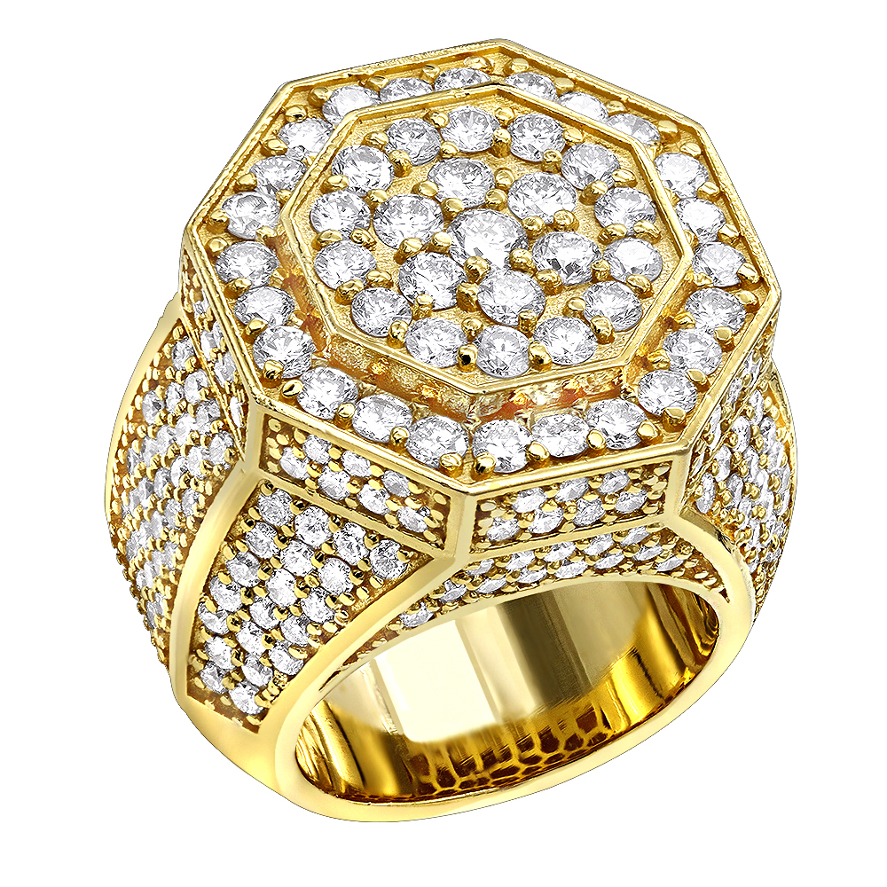 Statement Jewelry 14K Gold Men's Diamond Ring 7ct by Luxurman Yellow Image