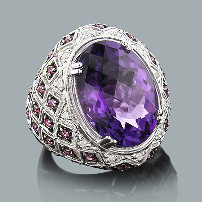 Statement Jewelry for Women: Large Amethyst Cocktail Ring with Diamonds Main Image