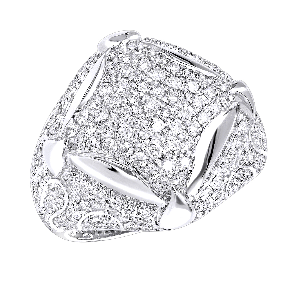Statement Mens Diamond Rings Sale 14k Gold Luxurman 3.25ct Ring White Image