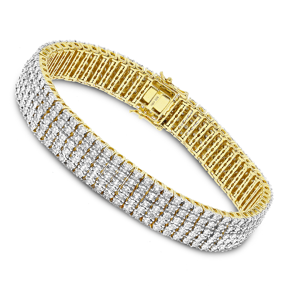 Mens Bracelets: Sterling Silver 5 Row Diamond Bracelet 1.5ct Gold Plated Yellow Image
