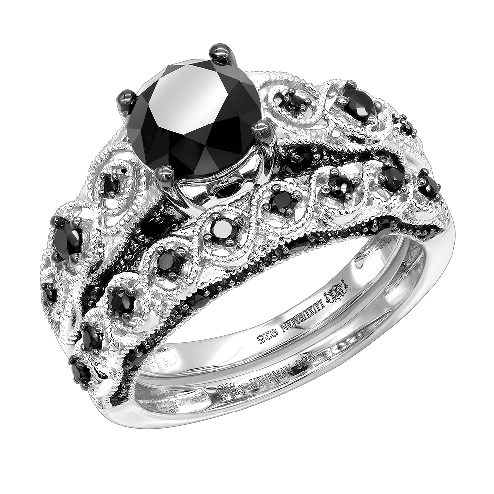 Sterling Silver Black Diamond Antique Engagement Ring Set 2 2ct by Luxurman