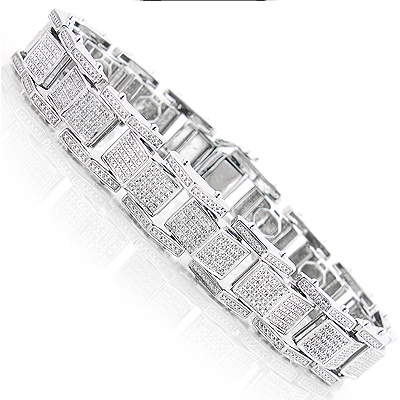 Sterling Silver Bracelets Mens Diamond Bracelet 0 84ct