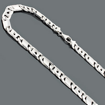 Sterling Silver Chains: Figaro Link Necklace 9mm