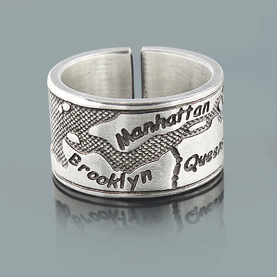 Sterling Silver Designer Jewelry: New York City Borough Map Ring