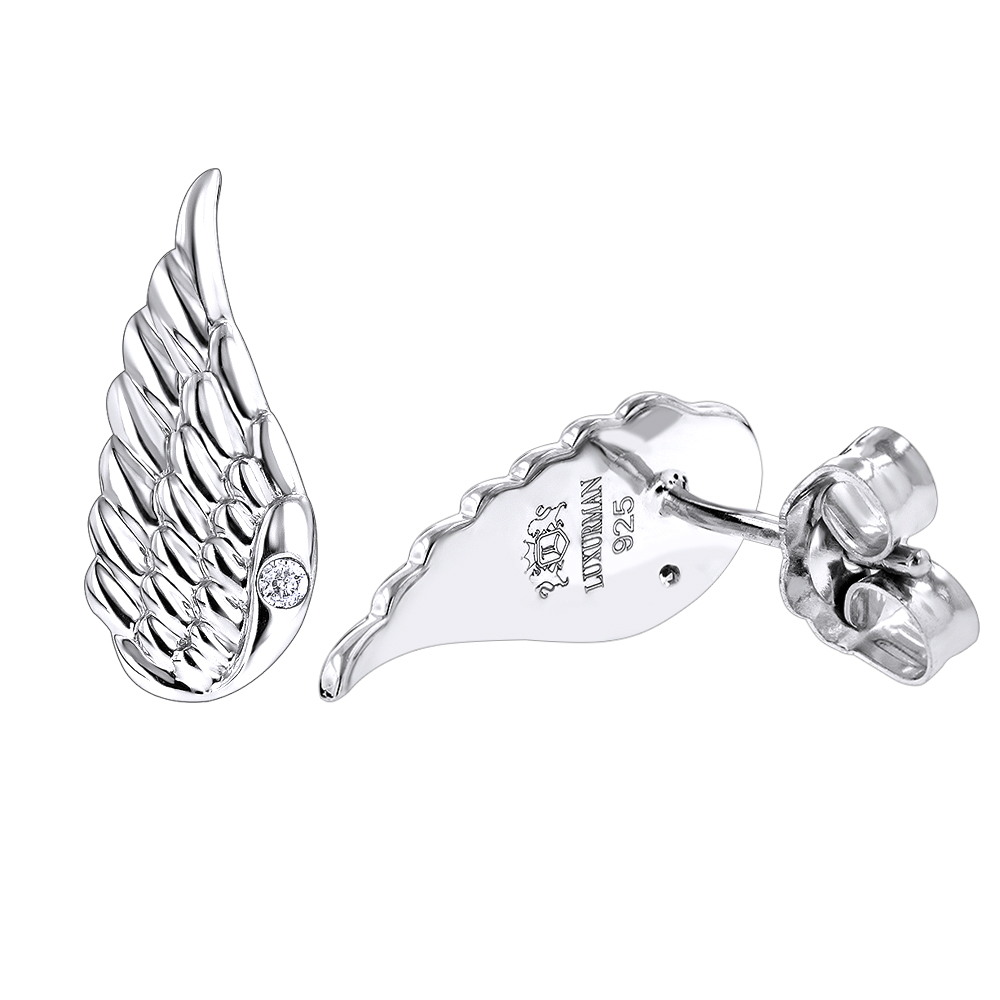 Sterling Silver Diamond Angel Wing Earrings for Women Luxurman Love Quotes  White Image