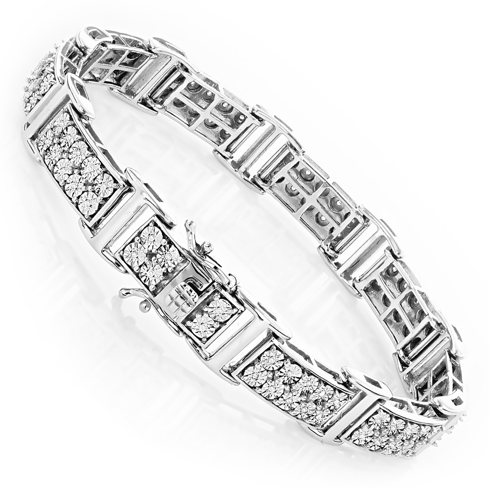 Sterling Silver Diamond Bracelet 0.6ct White Image