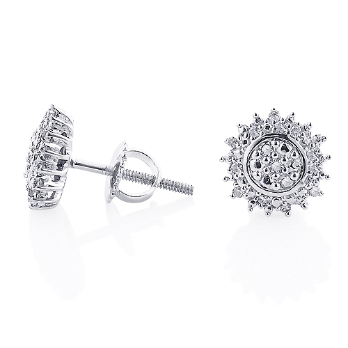 Sterling Silver Diamond Cluster Earrings Studs 0.13ct