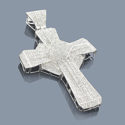 Sterling Silver Diamond Cross Pendant 3.11ct Main Image