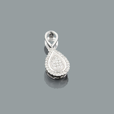 Sterling Silver Diamond Drop Pendant 0.14ct