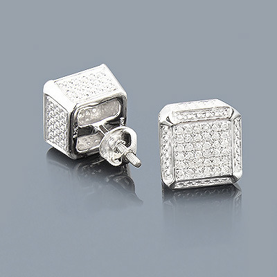 Sterling Silver Cube Diamond Earrings Studs 0.50ct Main Image