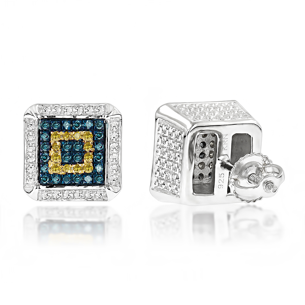 Square Sterling Silver Diamond Earrings Studs 0.35ct Yellow Blue Diamonds Main Image