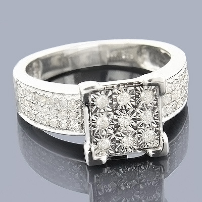 Affordable Sterling Silver Genuine Diamond Engagement Ring 0.60ct Main Image