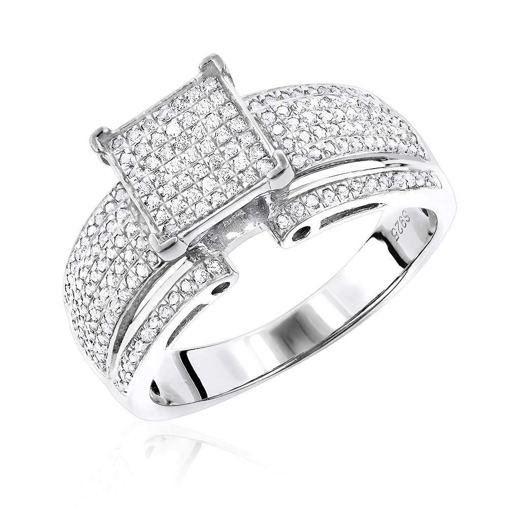 Sterling Silver Diamond Engagement Ring 0.92ct White Image