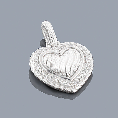 Sterling Silver Diamond Heart Pendant 0.13ct