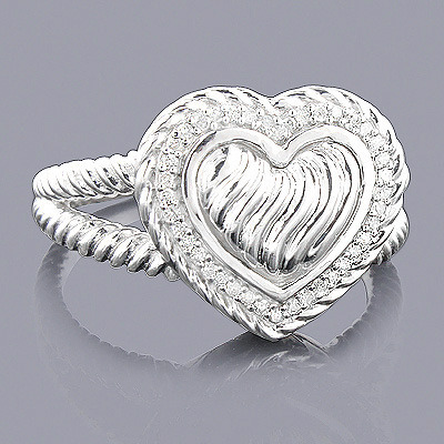 Sterling Silver Diamond Heart Ring 0.13ct Main Image