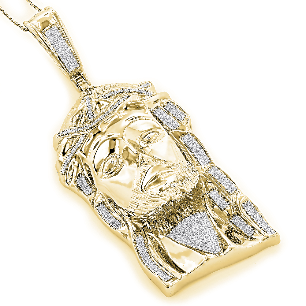 Sterling Silver Diamond Jesus Face Pendant 1.75ct Gold Plated Yellow Image