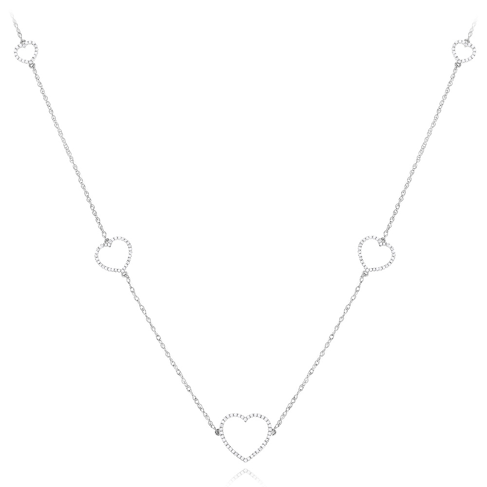 Sterling Silver Diamond Necklace Heart Design 0.3ct Main Image