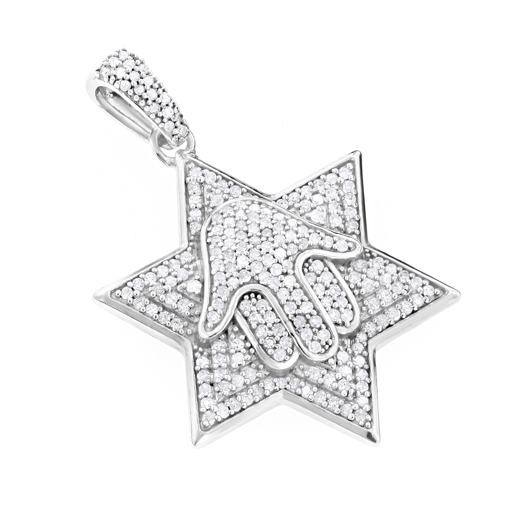 Sterling Silver Diamond Star of David Pendant 0.65ct Main Image